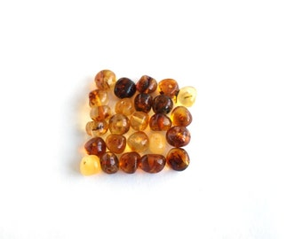 Loose Baltic amber round beads 25 pcs. Multicolored
