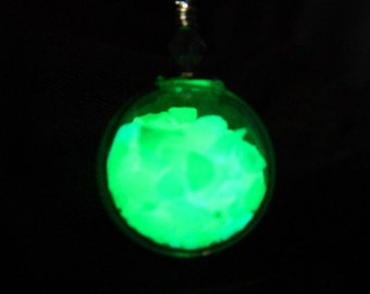 Magical Enchanted Glow Orb Blown Glass Silver Necklace Funky.Kitsch.