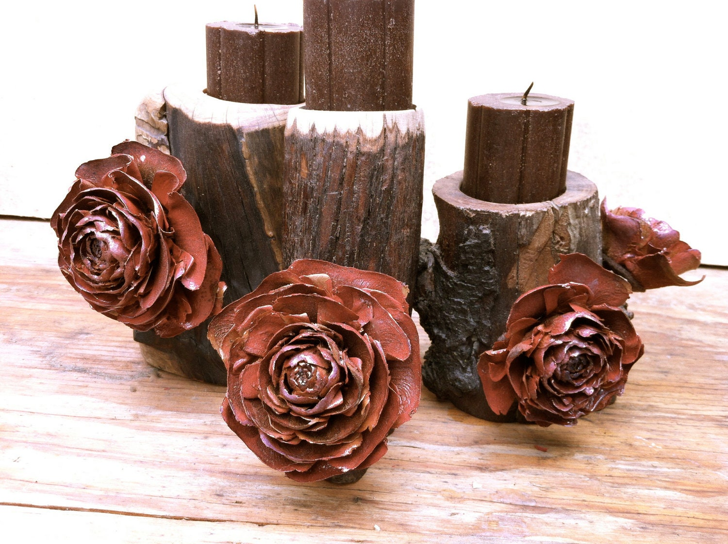 Wood Candle Holders Unique Rustic Home Decor Cedar By