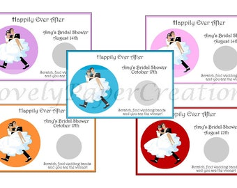 Personalized Modern Bride and Groom Bridal Shower Scratch off Game