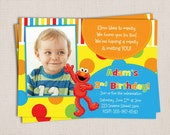 Primary Polka Dots and Stripes Boy or Girl Little Red Monster Custom Birthday Party Printable Invitation