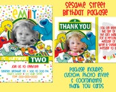 Sesame Street Character Birthday Invite & Thank You Card - With Photo