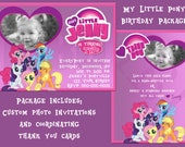 My Little Pony Photo Birthday Invitation and Thank You Card Package