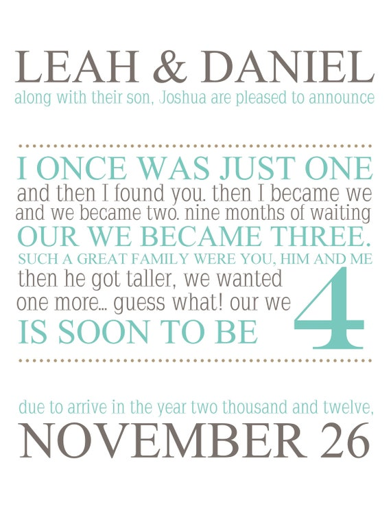 Printable Pregnancy Announcement 'I once was just one'