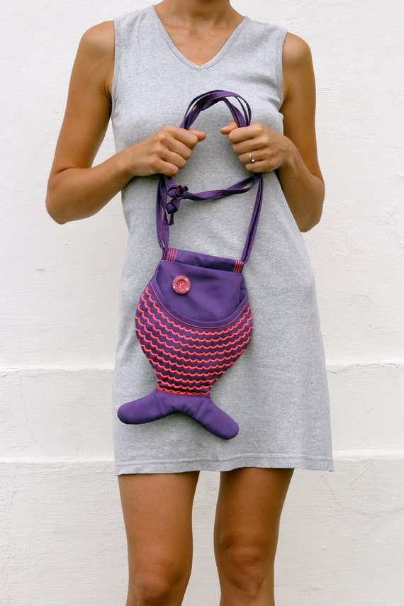 Creepy Cute Neon Pink Fish Bright Purple Fish Purse Geek Bag Hipster Psychedelic Indie Fashion Festival Cross Body Bag Funny Bag Kidswear