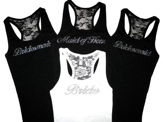 4 Bridesmaid Tank Top Shirts, Bachelorette Party Shirts, Bridesmaid Proposal, Will You Be My Bridesmaid, Bridesmaid Lace Tank Tops, Wedding