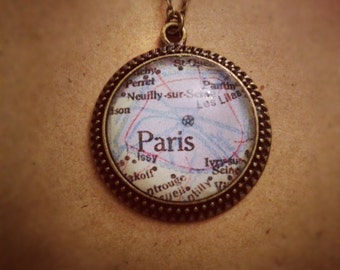 Paris Map Necklace
