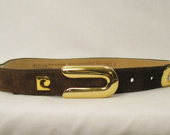 Gorgeous Pierre Cardin Suede Belt With Brass Metal Accents