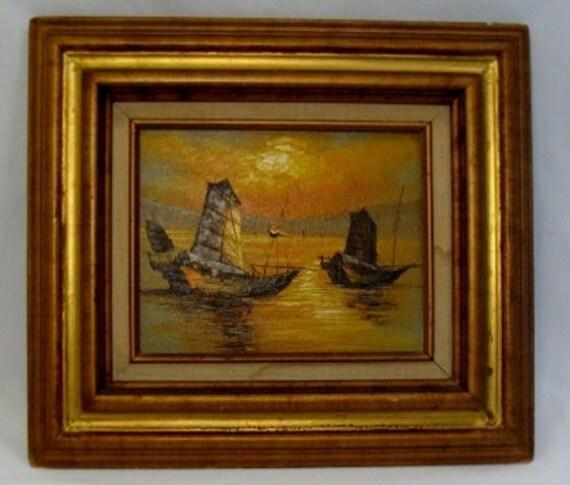 Original Oil on Board Framed Painting - Sunrise at Sea