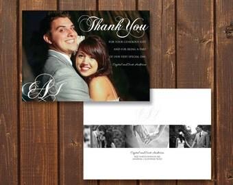 Monogram, Customized Wedding Photo Thank You Card, Printable