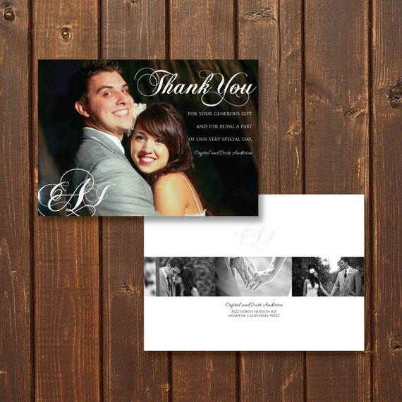 Monogram, Customized Wedding Photo Thank You Card, Printable