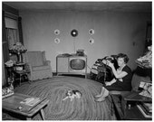 Living in Style, 1958: A Modern Living Room with Retro TV, Furniture, and Beagle