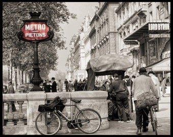 Paris Metro on Champs Elysees 1952 Vintage Print from Original Negative with Bicycles