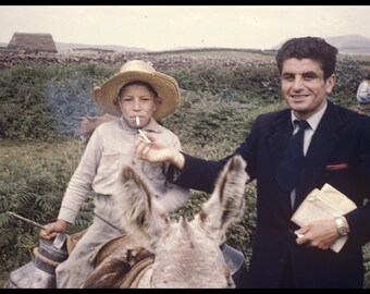 Somewhere in Mexico, Vintage Photo from Original Negative Young Boy on Donkey Smoking