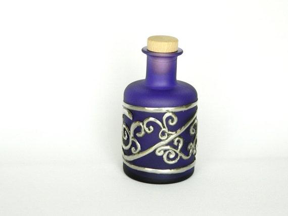 Reserved for Joanne - Glass Bottle Purple Twirls and Swirls Pewter Motif
