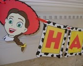 Toy Story JESSIE WOODY Cow Print Happy Birthday Banner Disney Pixar