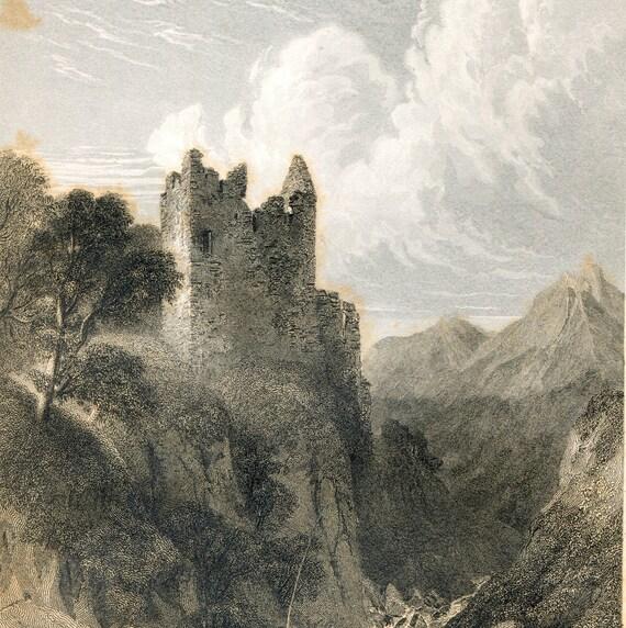 19th century vintage antique print Scottish Castle Garth 14th cent haunted Scotland historical engraving  Scottish genealogy