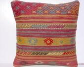 """MODERN Bohemian Home Decor,Turkish Kilim Tulu Pillow Cover  16"""" X 16"""",Vintage Kilim Pillow, Kilim Embroidery Pillow,Throw Pillow"""