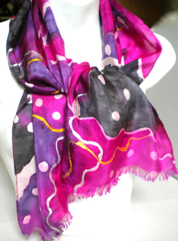 Flamboyant Opera Purple, Indigo gray SILK SCARF with Silver and Gold accents. Hand Painted Silk Scarf by NYC artist Joan Reese/100% Silk