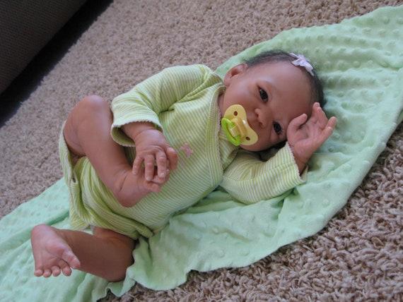 Christmas in July,FREE SHIPPING, Reborn baby girl, heirloom doll, biracial, ethnic, baby Rebecca,cij