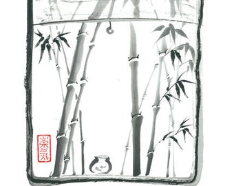 "Original Sumi-e Painting ""Bamboo outside my window"" - Japanese art - Wall decor - ink wash - bamboo brash"