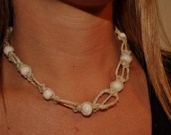 CKC Hemp Necklace with Bone Beads