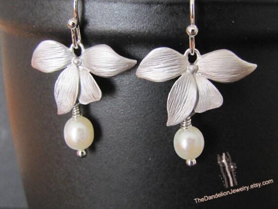 Orchid Drop Earrings, Dangle Earrings, Pearl Earrings, Jewelry, Gift
