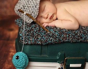 Newborn Photo Prop//Fisherman Set//Crochet Hat and Fish Set//Newborn Props//Newborn Boy Hat//Newborn Hat//Hat & Fish//Crochet Set//Baby Gift