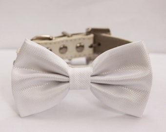 White Wedding Dog Bow Tie - White Wedding Dog Collar- Cute Dog Bow tie, with high quality leather dog collar
