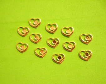 12 Vintage Goldplated 8mm Open Hearts with 2mm Setting