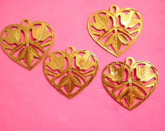 4 Vintage 37mm Diamond Cut Brass Heart with Flower Charms