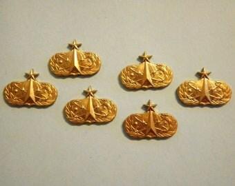 "6 Vintage Brass 3/4"" Occupational Airforce Senior Space and Missle Badges"