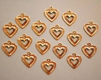 16 Goldplated 14mm Open Heart Charms