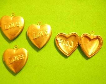 "4 Vintage Brass 25mm ""Love"" Heart Lockets"