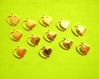 12 Vintage Goldplated 15mm Double Heart Pendants
