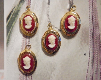 4 Vintage Goldplated 16x20mm Lockets with Ruby Red Cameo