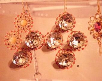 6 Vintage Glass 13mm Swarovski Crystal Clear Gold Foiled Faceted Stones