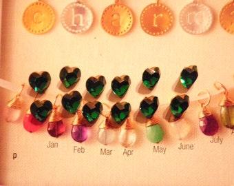 12 Vintage Austrian Glass 9x8mm Swarovski Gold Foiled Emerald Faceted Heart Stones
