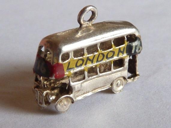 Vintage UK Sterling  Silver charm  Rare Coloured London bus charm bracelet pendant