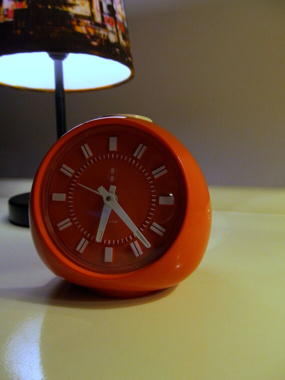 RESERVED item to S. -  Pending - Do not purchase - SALES 20% OFF - Retro Orange Alarm Clock from the 70s