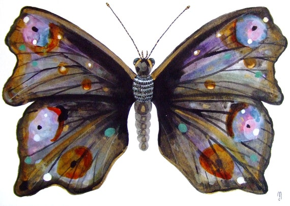 """Butterfly Insect Animal Original Drawing Watercolor Painting and Ink, Black Grey Gold Orange Purple, gold butterfly """"Papillon or"""""""