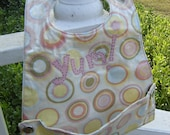 """CLEARANCE - Vinyl Pocket Bib - Toddler-Sized - Pink Circles and """"YUM"""" Applique - Easy Clean"""