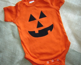 Custom Orange Pumpkin Face Halloween Onesie/Shirt