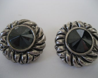 Faux Marcacite and Silver Earrings