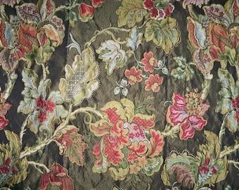 Designer ELOQUENT JACOBEAN BROCADE Fabric 10 Yards Slate Multi
