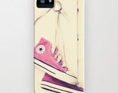 Pretty In Pink - iphone 5 case hard plastic durable protective converse shoes photo photograph retro classic cool chuck taylors funky gift
