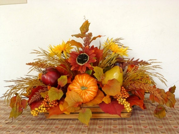 Large fall thanksgiving centerpiece pumpkin squash pomegranate