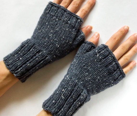 Fingerless Mittens, Hand Knitted Fingerless Gloves, Hand Warmers, Knit Mittens, Airforce Blue