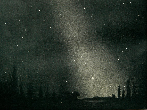 1894 Antique lithograph of CONSTELLATIONS, STARS, Milky Way. 118 years old print.