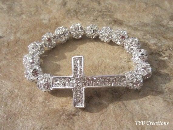 Silver Sparkle Rhinestone Sideways Cross Bracelet
